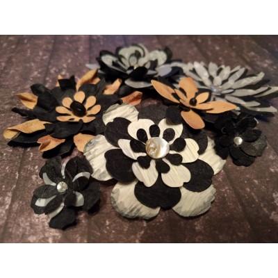 Kézzel készített papír virág - 7 db fekete-barna