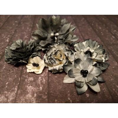 Kézzel készített papír virág - 6 db szürke