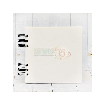10 lapos chipboard album fekete karikákkal - 15x15 cm