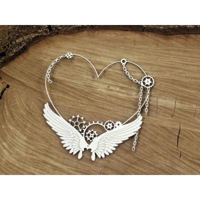 Steampunk-Flying hearts -kis szív keret