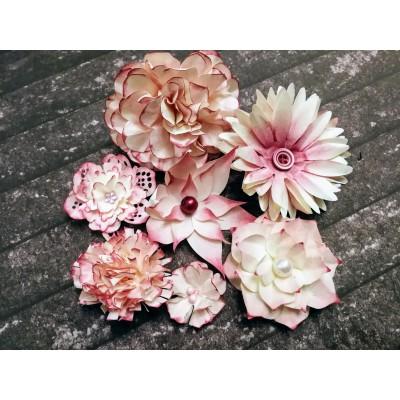 Kézzel készített papír virág - 7 db rózsaszínes bordó