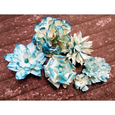 Kézzel készített papír virág - 6 db kék