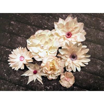 Kézzel készített papír virág - 7 db rózsaszín