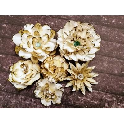 Kézzel készített papír virág - 6 db khaki