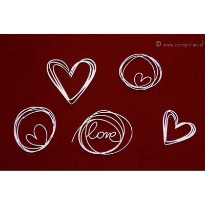 Ecsetvonásos szerelmes doodle-ök (5 db-os szett)