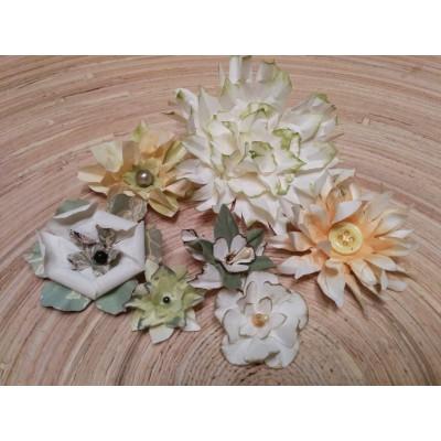 Kézzel készített papír virág - 7 db zöld/narancs