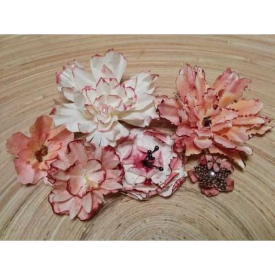 Kézzel készített papír virág - 6 db rózsaszín
