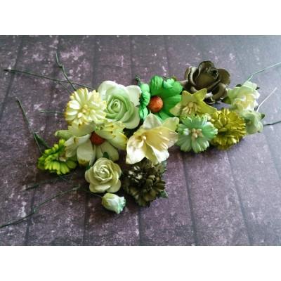 Zöld papír virágok - 20 db