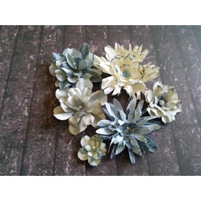Kézzel készített papír virág - 6 db szürkés kék