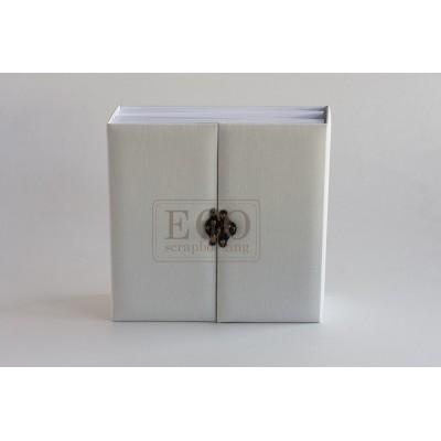 Fehér elől kapcsos 3D album vászon borítással - 20x20 cm, 6 lapos