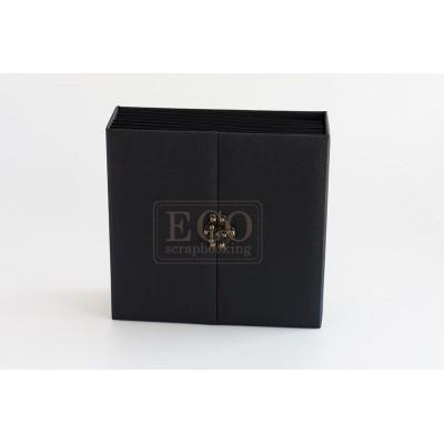 Fekete elől kapcsos 3D album vászon borítással - 20x20 cm, 6 lapos