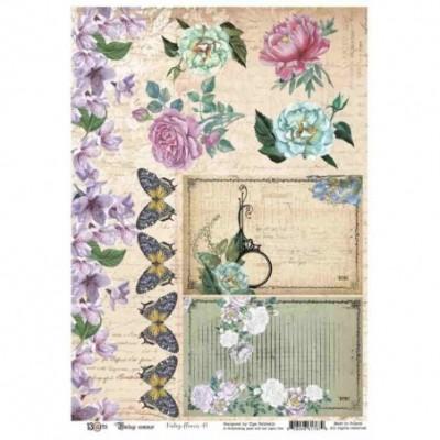 Vintage Summer kivágóív A4 - virágok