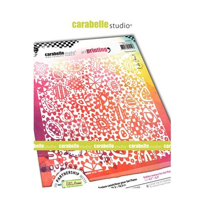 Carabelle Art Printing textúra lemez Gel Press laphoz - Funky Flowers