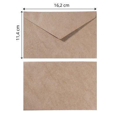 Kraft boríték (25 db) - 11,4x16,2cm x25 kraft