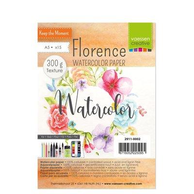 Florence - A5-ös akvarell papír szett 300g - 15 db (textured)