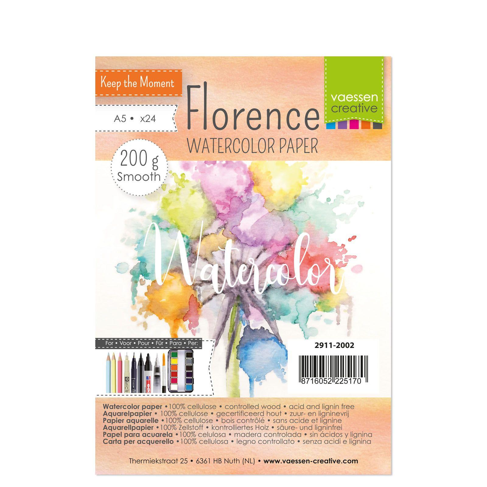 Florence - A5-ös akvarell papír szett 200g - 24 db (smooth)