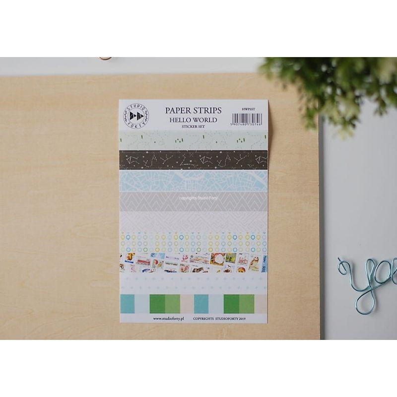 Hello world - papír csíkok - matrica szett