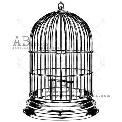 """Gumibélyegző - """"vintage madárkalitka"""" ID-732"""