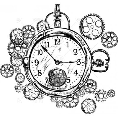 "Gumibélyegző - ""steampunk óra"" ID-696"