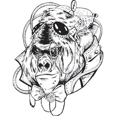 "Gumibélyegző - ""steampunk gorilla"" ID-693"