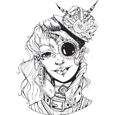 """Gumibélyegző - """"steampunk nő"""" ID-738"""