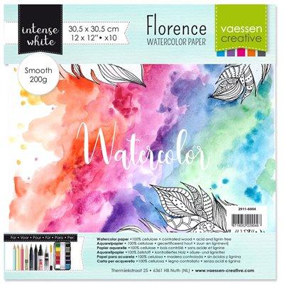 """Florence - 12""""-es akvarell papír szett 200g - 10 db fehér sima felületű"""