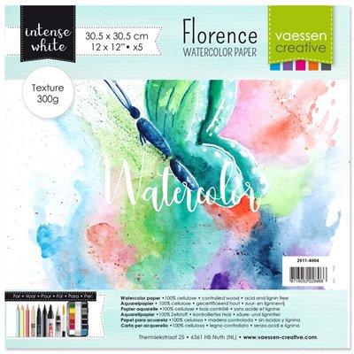 """Florence - 12""""-es akvarell papír szett 200g - 5 db fehér textúrált felületű"""