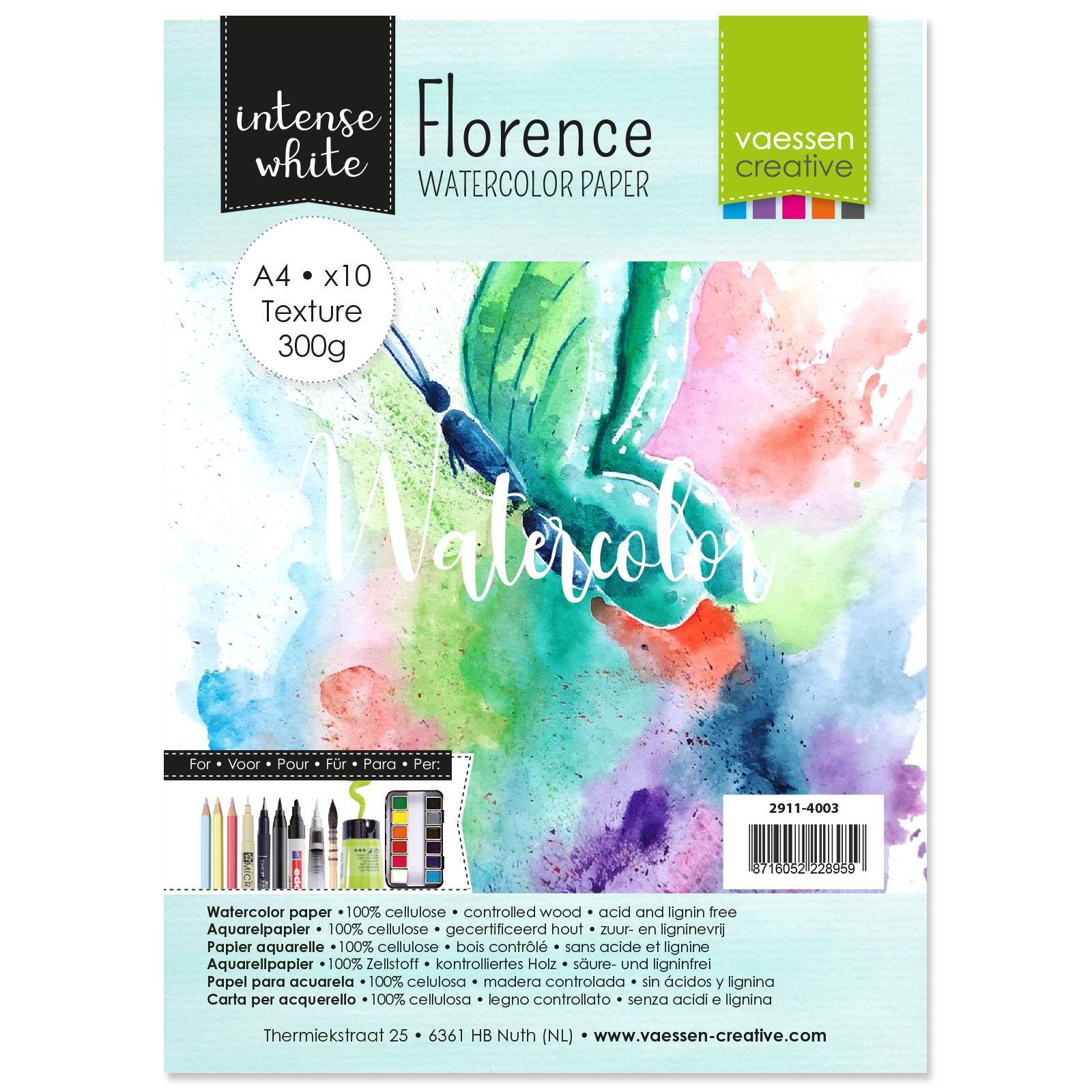 Florence - A4-es Intense White akvarell papír szett 300g - 10 db fehér textúrált felületű