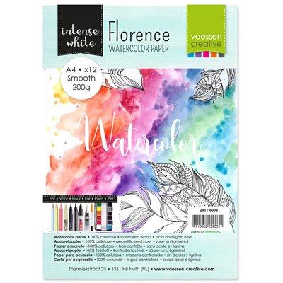 Florence - A4-es akvarell papír szett 200g - 12 db sima felületű