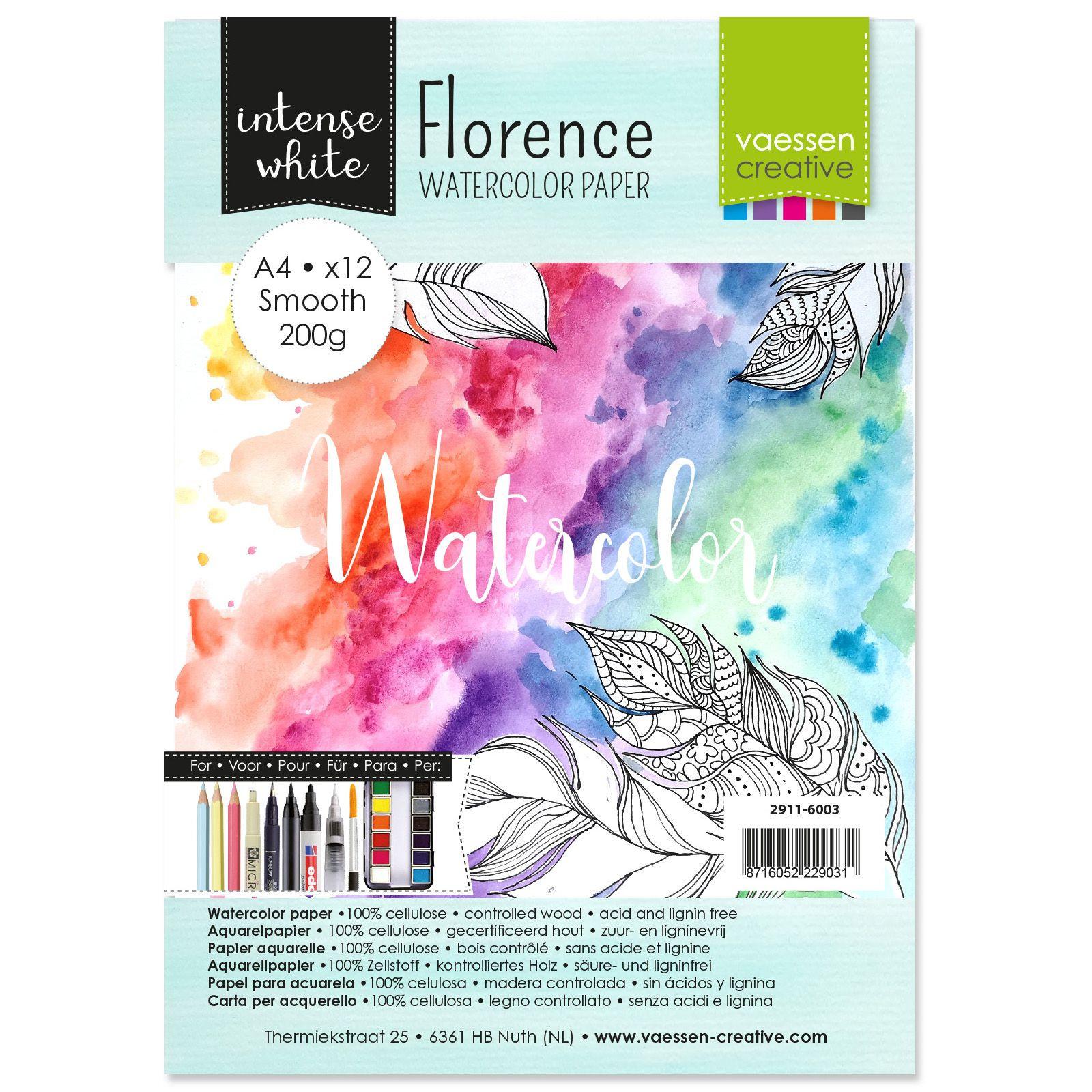 Florence - A4-es Intense White akvarell papír szett 200g - 12 db sima felületű