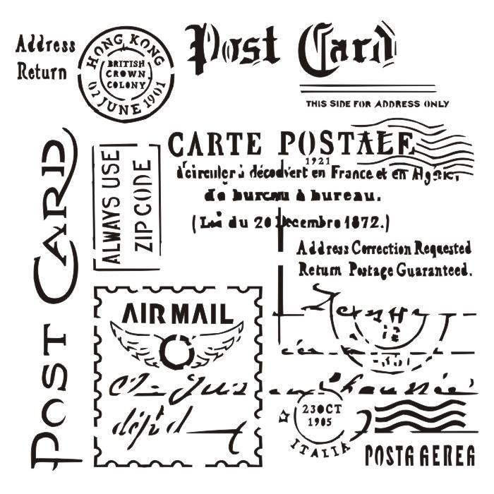 "Carte Postale 6x6"" stencil"