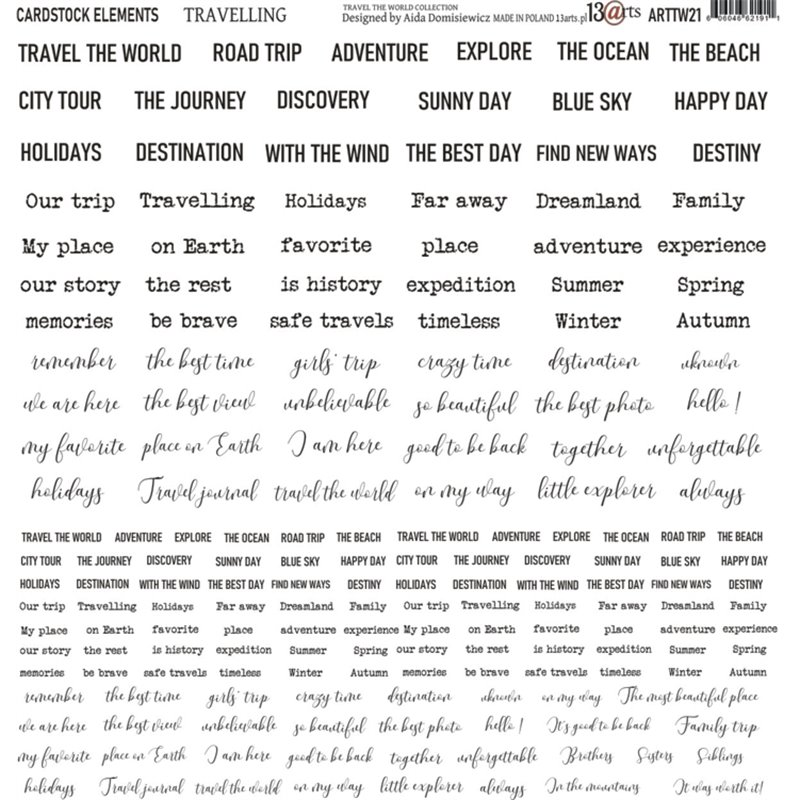 Travelling 12x12-es karton elemek (angol)