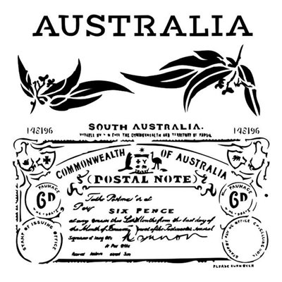 "Australia 6x6"" stencil"