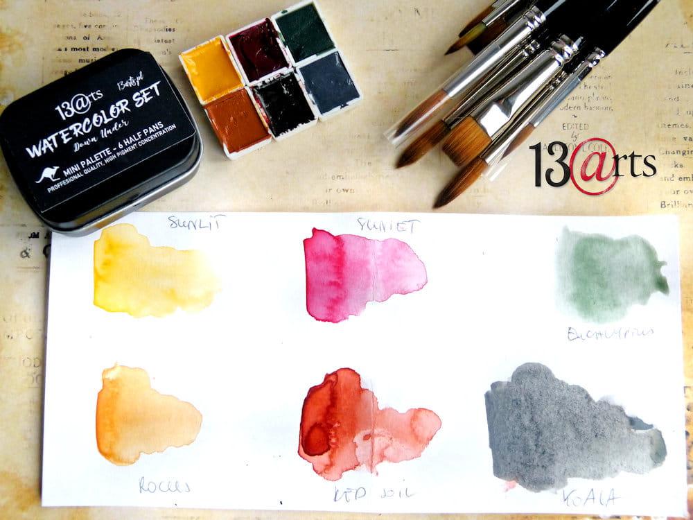 Vízfesték paletta, Australia szett, 6 színnel