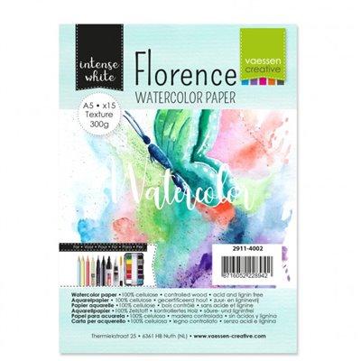 Florence - A5-ös Intense White akvarell papír szett 300 g - 15 db fehér textúrált felületű
