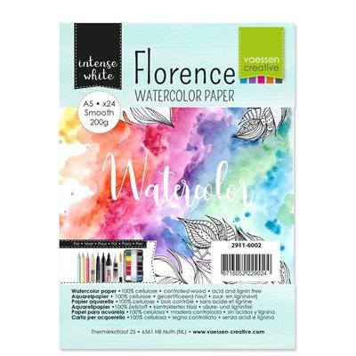 Florence - A5-ös Intense White akvarell papír szett 200 g - 24 db fehér sima felületű