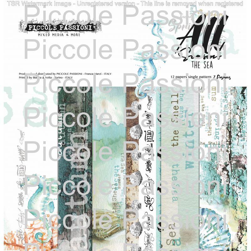 """All Seasons The Sea 12"""" scrapbook papír készlet. 12 db 190 grammos egyoldalas 30x30 cm-es papírok. 7 design"""