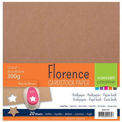 """Florence - 12""""-es alapkarton 300g - 20 db kraft, textúrált felületű"""