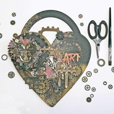 Steampunk szívlakat dekor