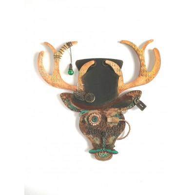 Steampunk szarvasfej dekor