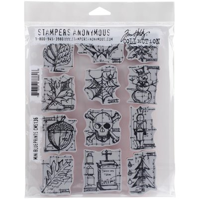 Tim Holtz Cling Stamps - Mini Blueprints - bélyegzőszett