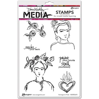 Dina Wakley Media Cling Stamp - Homage To Frida
