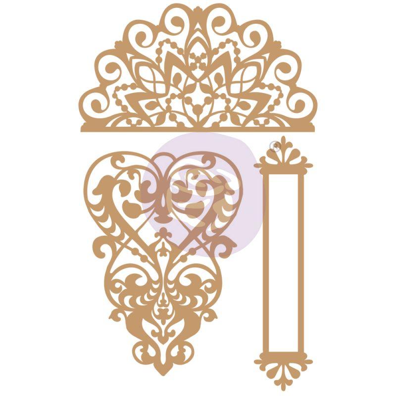 CHIPBOARD – LACE & HEART – 3 db