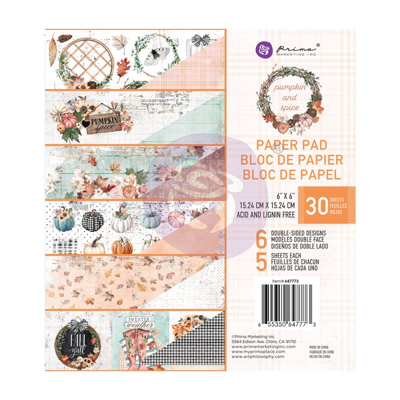 PUMPKIN & SPICE KOLLEKCIÓ 6×6 PAPER PAD – 6″ X 6.5″, 30 lap