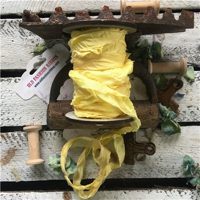 Old Fashion szatén szalag - yellow/sárga