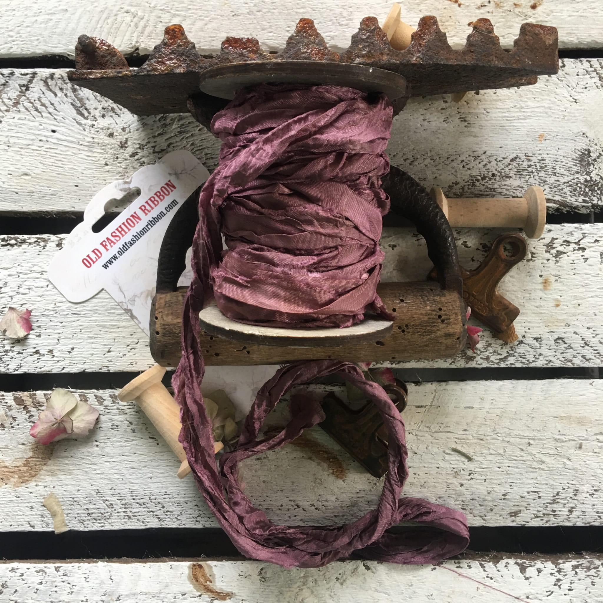 Old Fashion szatén szalag - dirty pink/piszkos pink