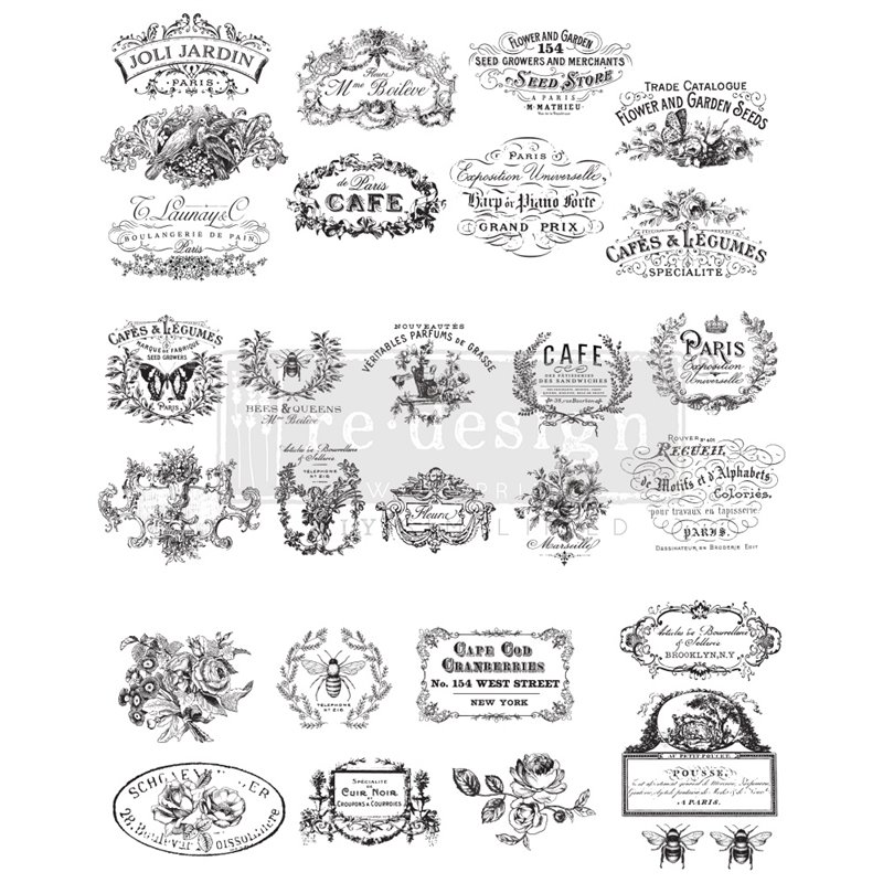 Re-Design with Prima Classic Vintage Labels 24.7x31.2 Inch transzferfólia