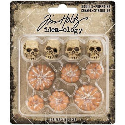 Tim Holtz - Idea-Ology Mini Skulls & Pumpkins (10db)