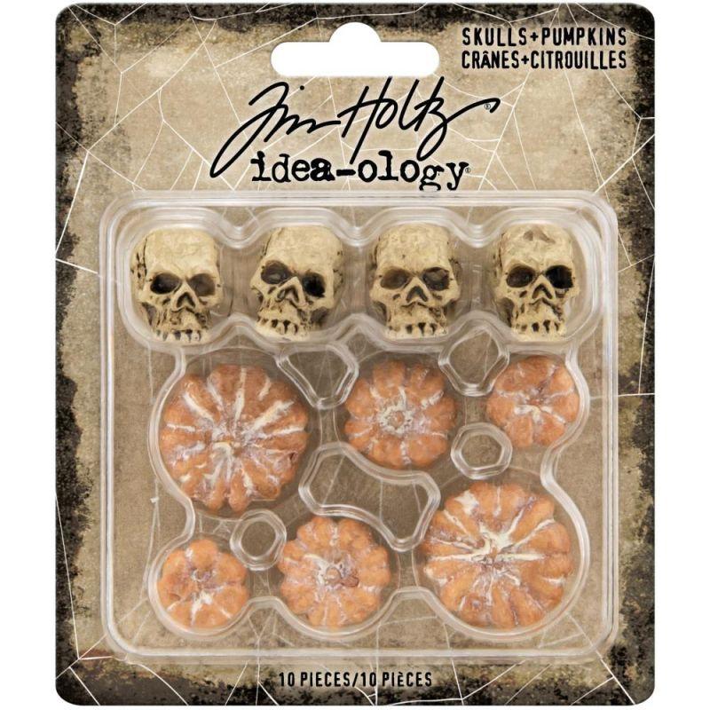Tim Holtz - Idea-Ology Mini Skulls & Pumpkins (10db)