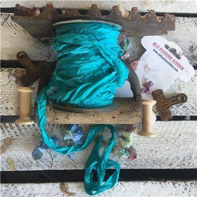 Old Fashion szatén szalag - turquoise sea/türkizkék